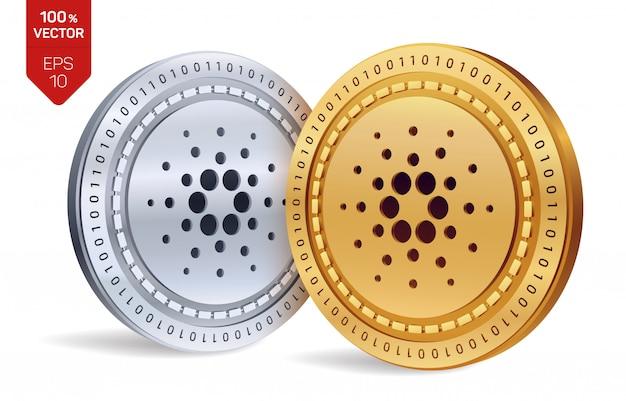 Криптовалюта золотые и серебряные монеты с символом кардано на белом фоне.