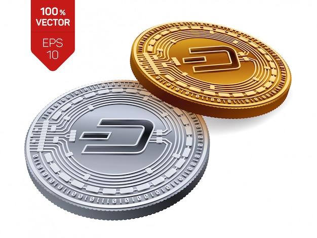 Криптовалюта золотые и серебряные монеты с символом тире, изолированные на белом фоне.