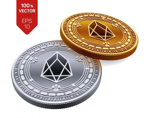 Криптовалюта золотые и серебряные монеты с символом eos на белом фоне.