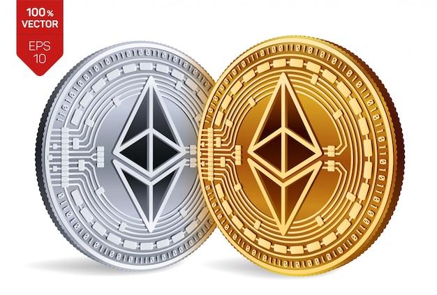 白い背景で隔離のイーサリアムシンボルと暗号通貨の黄金と銀のコイン。
