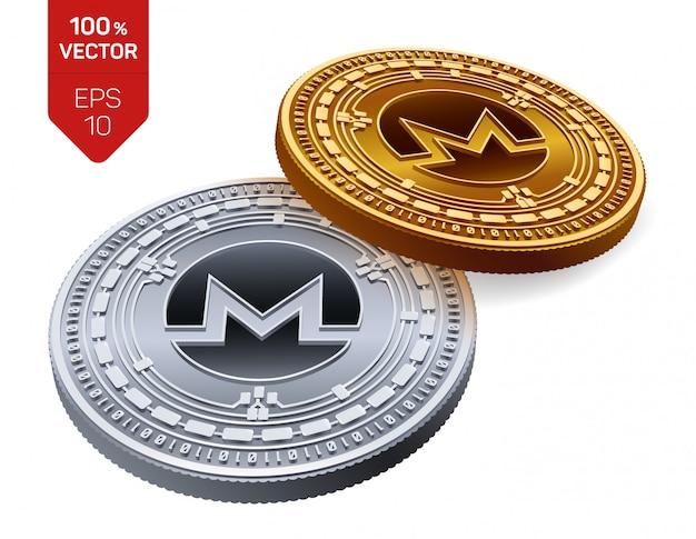 Monero 기호 흰색 배경에 고립 된 암호화 된 황금과 은색 동전.