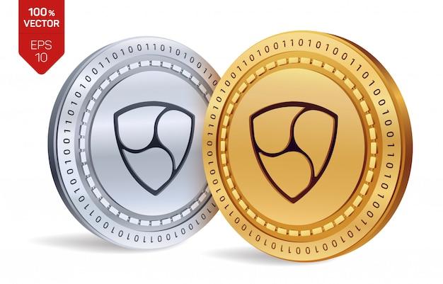 Криптовалюта золотые и серебряные монеты с символом нем на белом фоне.