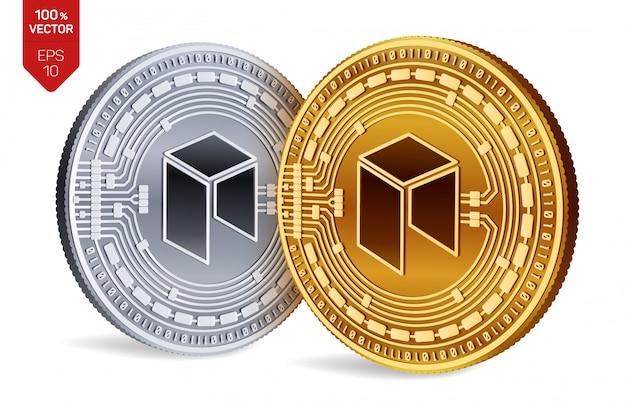 白い背景で隔離のネオシンボルと暗号通貨の黄金と銀のコイン。