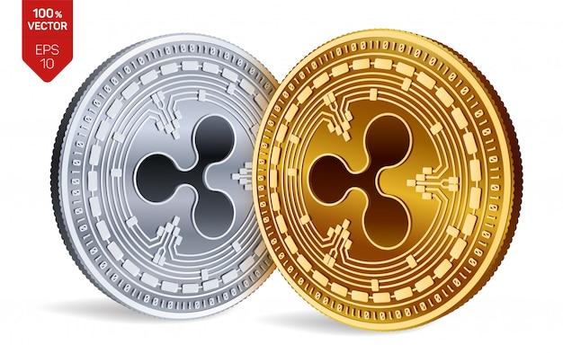 Криптовалюта золотые и серебряные монеты с символом пульсации, изолированные на белом фоне.