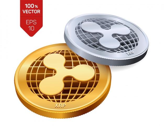 리플 기호 흰색 배경에 고립 된 cryptocurrency 황금과 은색 동전.
