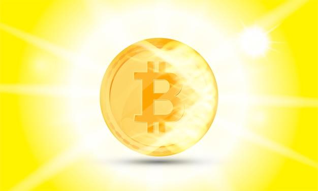 Криптовалюта золотая монета на белом фоне. биткойн символ электронных денег в огонь и световые эффекты.
