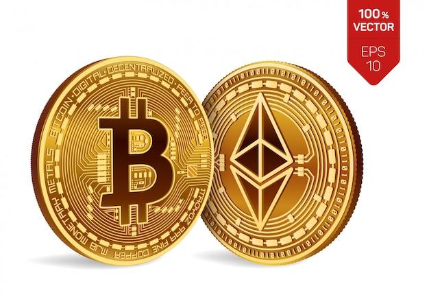 Криптовалюта золотые монеты с биткойнами и символом эфириума, изолированные на белом фоне.