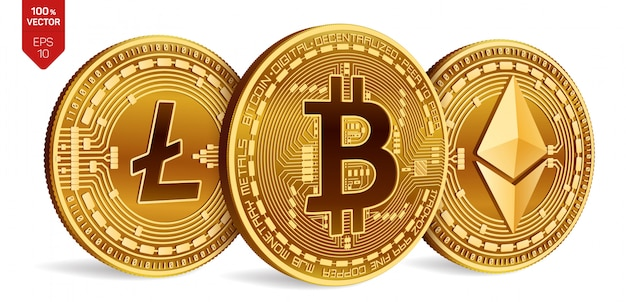 Cryptocurrency golden coins with bitcoin, litecoin and ethereum symbol on white background.