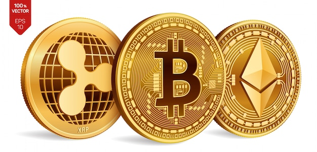 Cryptocurrency golden coins with bitcoin, ripple and ethereum symbol on white background.