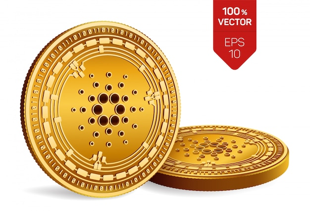 Cryptocurrency golden coins with cardano symbol isolated on white background.