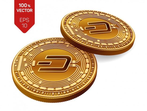 Monete dorate di criptovaluta con il simbolo dash isolato su sfondo bianco.