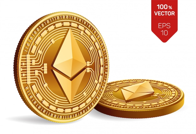 Cryptocurrency golden coins with ethereum symbol isolated on white background.