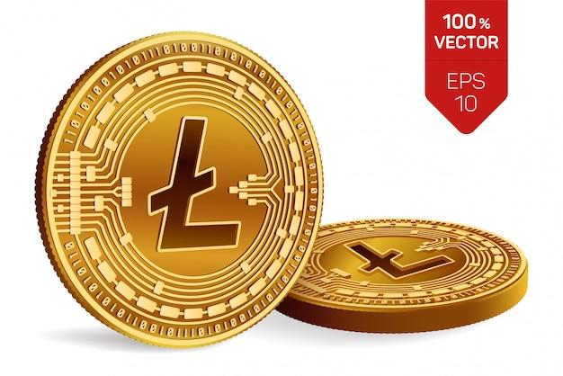 Криптовалюта золотые монеты с символом litecoin, изолированные на белом фоне.