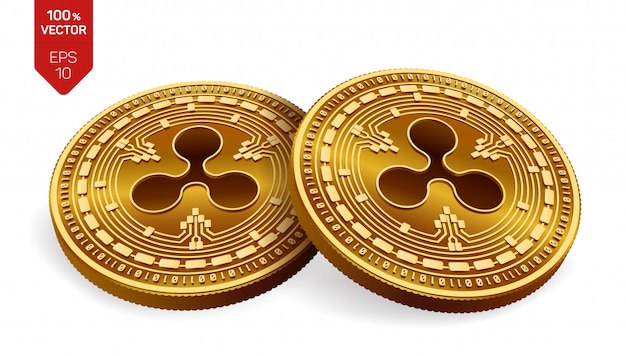 Cryptocurrency golden coins with ripple symbol isolated on white background.