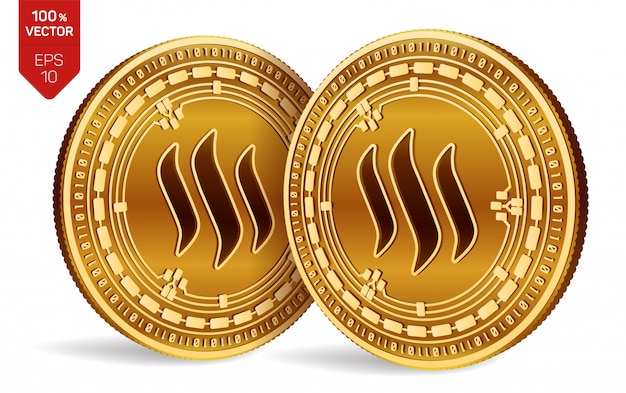 Cryptocurrency golden coins with steem symbol isolated on white background.
