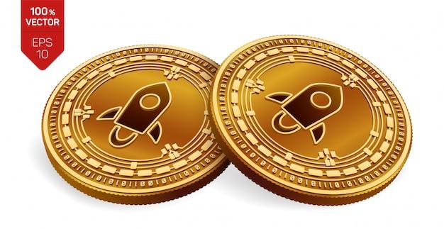 Криптовалюта золотые монеты с звездным символом на белом фоне.