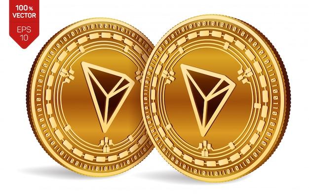 Криптовалюта золотые монеты с символом tron, изолированные на белом фоне.