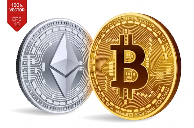 Cryptocurrency golden and silver coins with bitcoin and ethereum symbol isolated on white background.