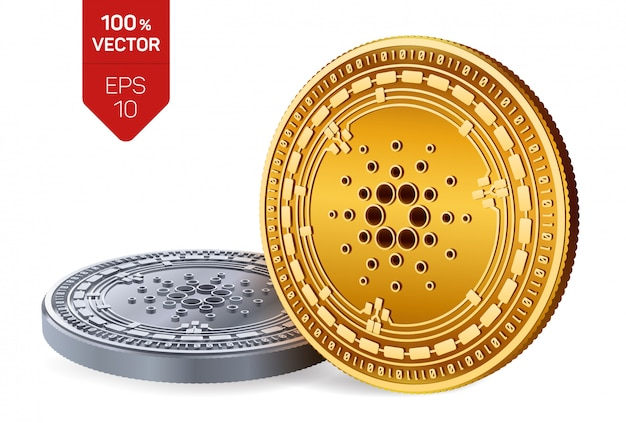 Cryptocurrency golden and silver coins with cardano symbol isolated on white background.