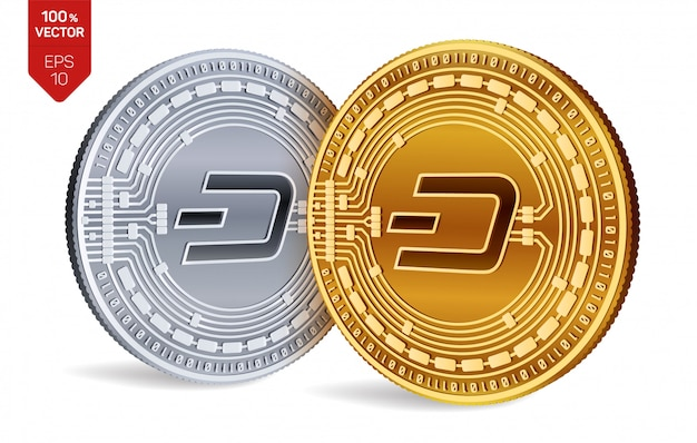 Cryptocurrency golden and silver coins with dash symbol isolated on white background.