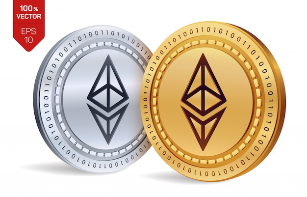 Cryptocurrency golden and silver coins with ethereum symbol isolated on white background.