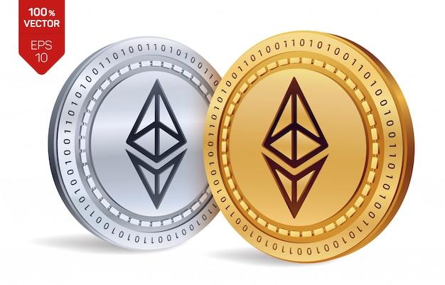 Monete dorate e d'argento di criptovaluta con il simbolo di ethereum isolato su fondo bianco.