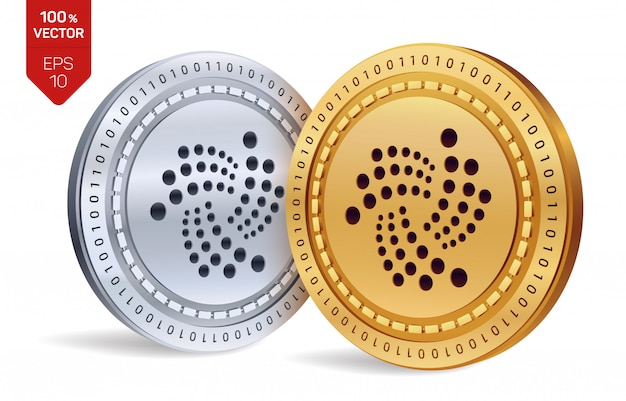 Cryptocurrency golden and silver coins with iota symbol isolated on white background.