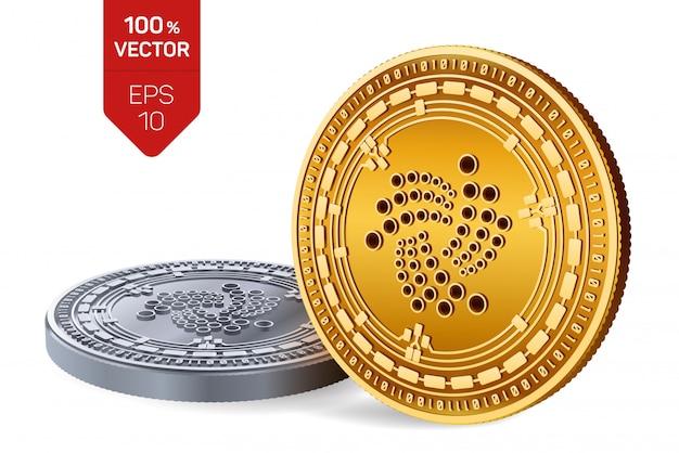 Monete d'oro e d'argento di criptovaluta con il simbolo iota isolato su sfondo bianco.