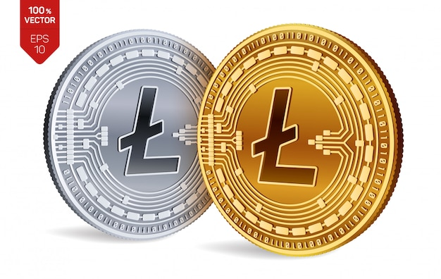 Cryptocurrency golden and silver coins with litecoin symbol isolated on white background.