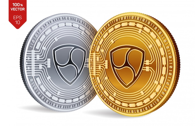 Cryptocurrency golden and silver coins with nem symbol isolated on white background.