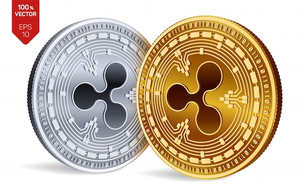 Cryptocurrency golden and silver coins with ripple symbol isolated on white background.