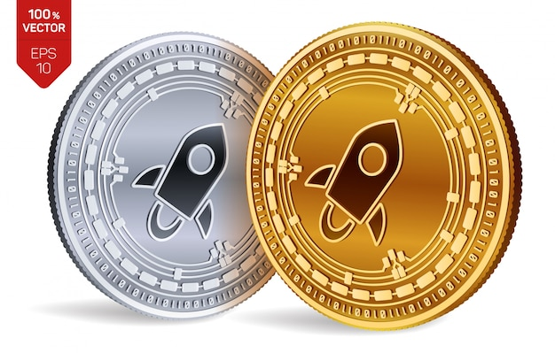 Cryptocurrency golden and silver coins with stellar symbol isolated on white background.