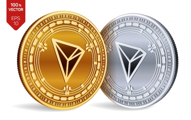 Cryptocurrency golden and silver coins with tron symbol isolated on white background.