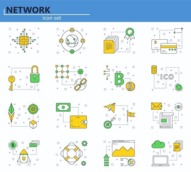 細い線スタイルのブロックチェーン技術とcryptocurrencyアイコンのベクトルを設定します。ビットコイン、エーテル、ico。 webサイトとモバイルwebアプリのアイコン。