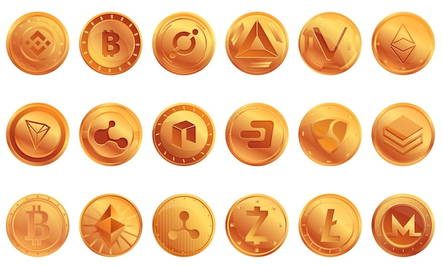 Cryptocurrency icons set. cartoon set of cryptocurrency icons