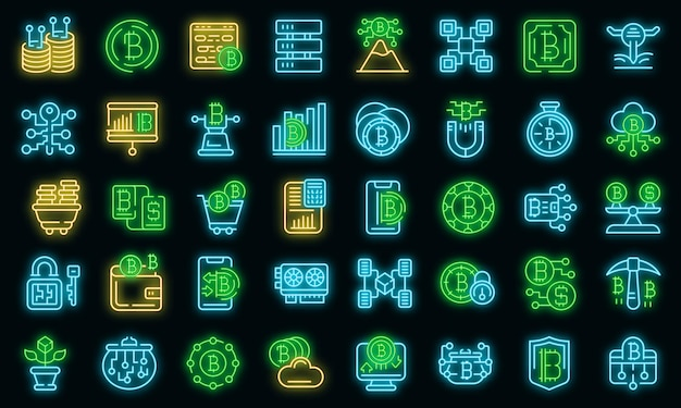 Cryptocurrency icons set. outline set of cryptocurrency vector icons neon color on black