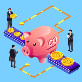 Cryptocurrency illustration of ico initial coin offering to bitcoin crypto currency