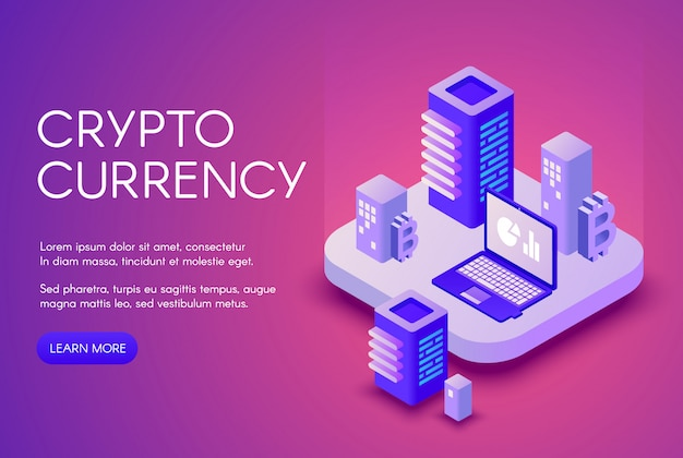 Cryptocurrency illustration poster for bitcoin crypto currency mining and blockchain.