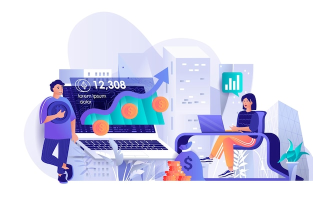 Cryptocurrency investment flat design concept illustration of people characters