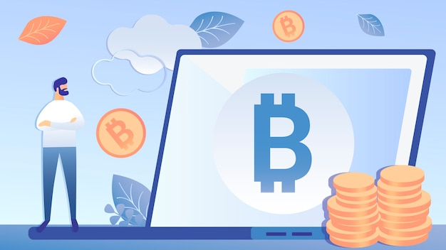 Cryptocurrency investment flat vector illustration