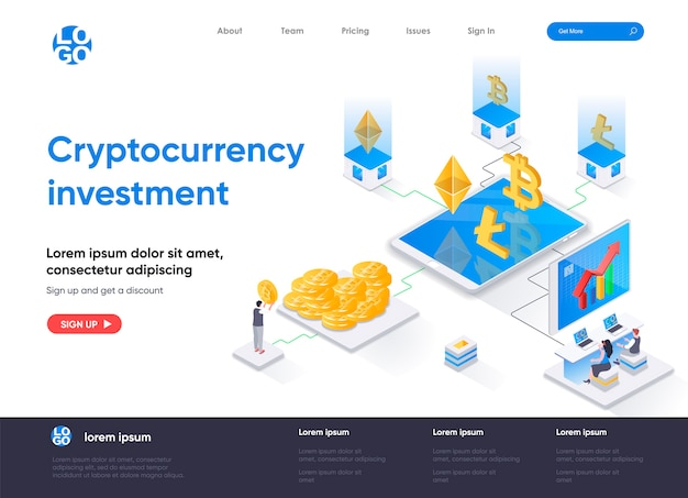 Cryptocurrency investment isometric landing page