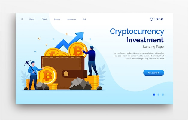 Cryptocurrency investment landing page website template banner