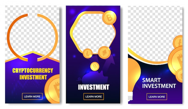 Cryptocurrency investment templates with coins.