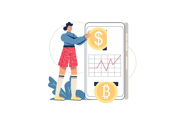 Интернет-концепция инвестиций в криптовалюту. женщина инвестирует в криптовалюту, зарабатывает цифровые деньги. технология блокчейн и добыча биткойнов, сцена с минимальным количеством людей. векторные иллюстрации в плоском дизайне для веб-сайта