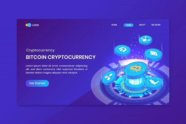 Cryptocurrency isometric bitcoin landing page