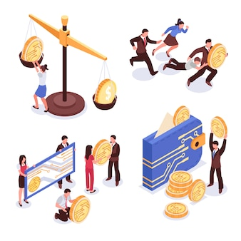 Cryptocurrency isometric design concept isolated on white background illustration