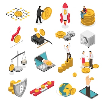 Cryptocurrency isometric icons set
