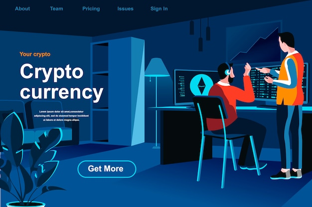 Cryptocurrency isometric landing page.