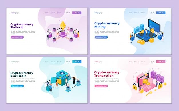 暗号通貨のランディングページコレクションテンプレート