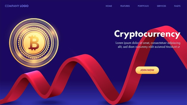 Cryptocurrency landing page or web template with golden bitcoin and 3d red wave